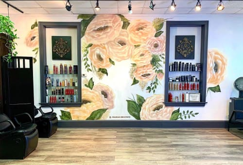 Murals by Colello Creations seen at Evan Michaels Salon, Syracuse - When women work together, they blossom
