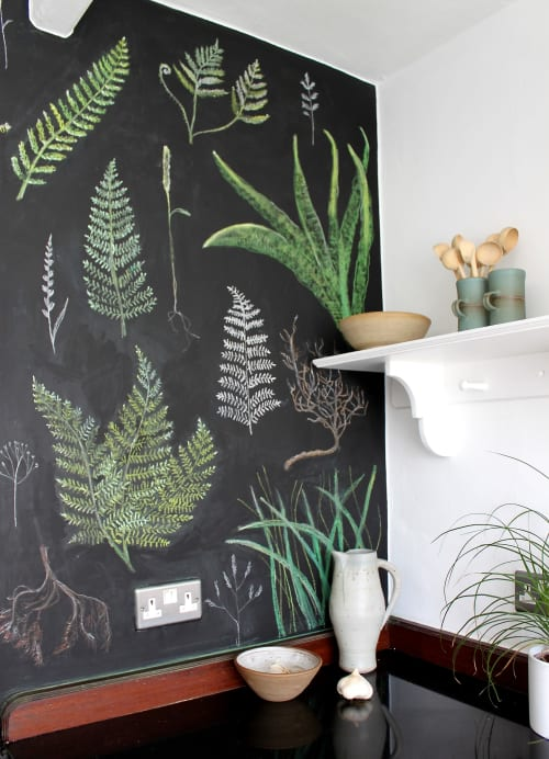 Murals by Jane Cabrera seen at Private Residence, Ashburton - Fern Blackboard Wall