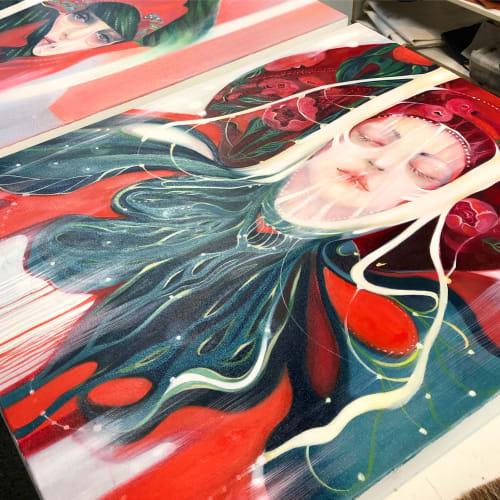 "Paintings by Felicia Cirstea seen at Creator's Studio, Toronto - ""Fluid"", Oil Painting"