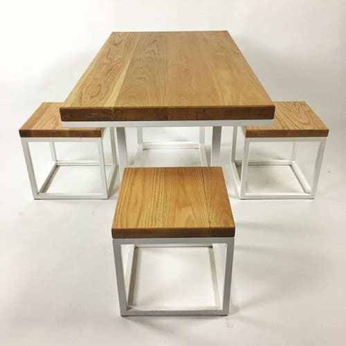 Tables by Parkman Woodworks seen at Private Residence, Malibu - Oak Jonny Style Table w/ Stools