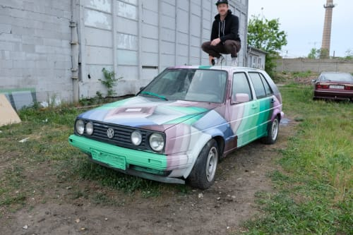 """Street Murals by Nathan Brown seen at Budapest, Budapest - """"Abandoned car number 1"""""""