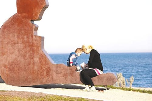 Public Sculptures by Matt Calvert seen at Werribee South Foreshore Reserve, Werribee South - Boy (corten)