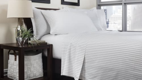 Linens & Bedding by ELEGANT STRAND seen at Private Residence - Boca Raton, FL, Boca Raton - Portofino Oxford Stripe Sheet Set