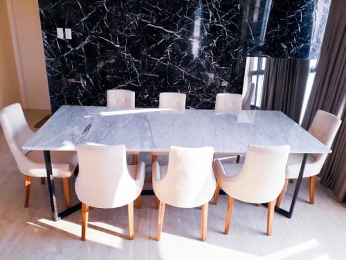 Tables by NOVISTELLE INTERNATIONAL CORPORATION seen at Private Residence, Makati - Customized Dining Set-Cararra marble table and upholstered fabric dining chair