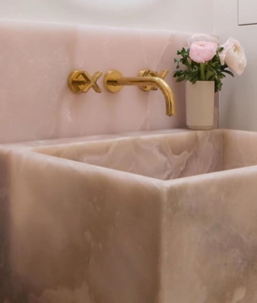 Tiles by ABC Stone seen at Private Residence, Brooklyn - Pink Onyx