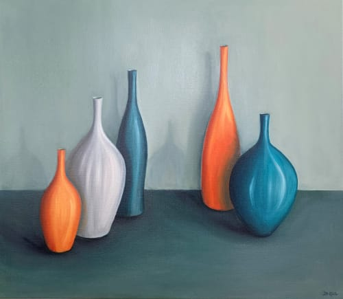 Paintings by Jonquilsart - 5 pots with orange