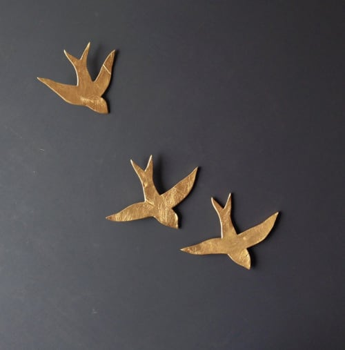 Art & Wall Decor by Elizabeth Prince Ceramics seen at Creator's Studio, Manchester - Set Of  3 Porcelain Swallows In Metallic Gold Finish