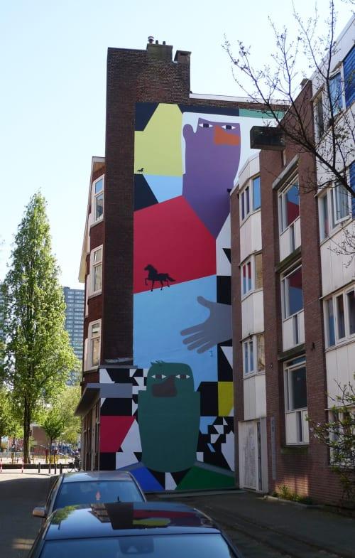 Murals by Anuli Croon seen at Zwarte Paardenstraat, Rotterdam - Mural Zwarte paardenstraat