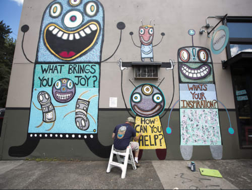 Murals by Gary Hirsch (botjoy) seen at Sweetpea Baking Co., Portland - Questions For Humans Stark Street Mural