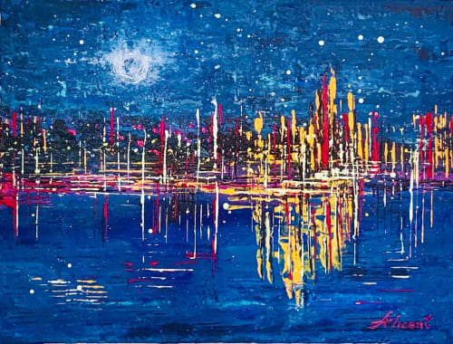 Paintings by Alicent Art seen at Private Residence, London, London - Moonlight