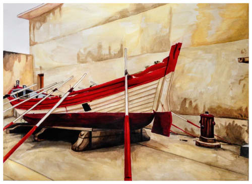 Paintings by Melissa Patel seen at Private Residence, St. Catharines - Anchored Boat at The Peniche Fortress (1 & 2) - diptych