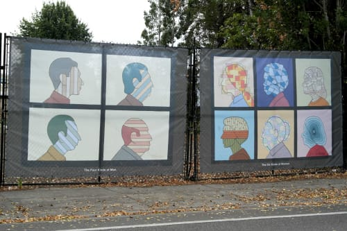 Street Murals by Alan Rose seen at Beaverton, Beaverton - The Four Kinds of Men, The Six Kinds of Women