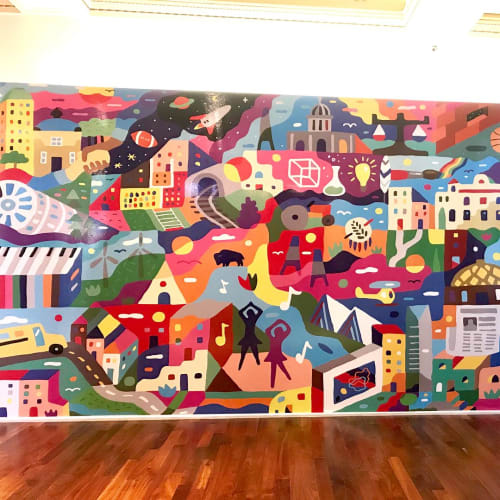 Murals by Kristopher Kanaly seen at Oklahoma Hall of Fame, Oklahoma City - Makerspace Mural