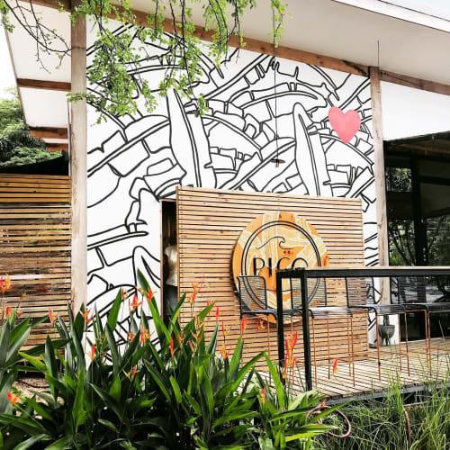 Murals by pepallama seen at Pico Bistro, Tamarindo - Pico Bistro Mural