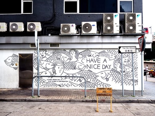 Murals by UUendy Lau seen at Yat Sin Street - Have A Nice Day