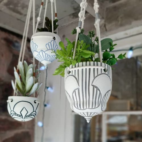 Vases & Vessels by Round Trip Clayworks seen at Private Residence, Avon - Hanging Planters