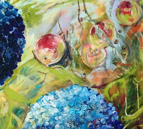 Paintings by Caroline Day Artist seen at Sprout, Devizes - Blue Hydrangeas