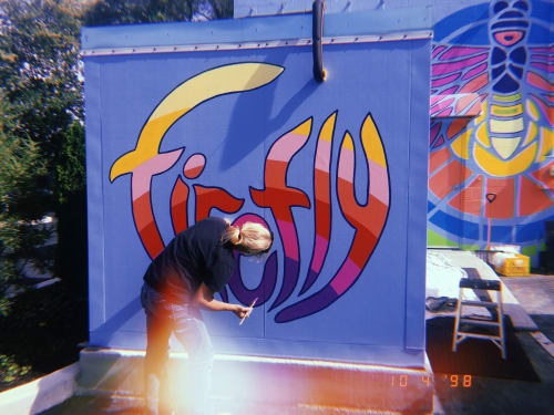 Murals by Tobias Studios seen at Fort Wayne, Fort Wayne - Firefly sign
