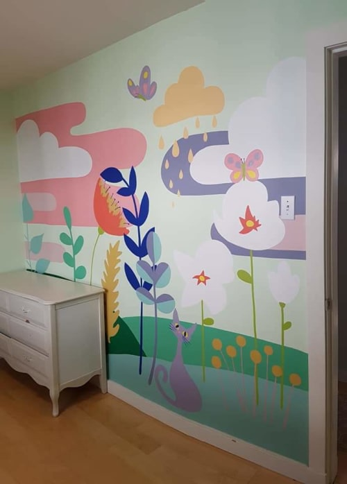 Murals by Liesl • Design Paint Mural seen at Private Residence, Squamish - Whimsical solid color mural