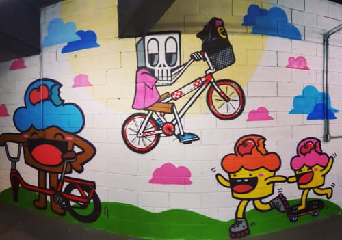Murals by Bolinho seen at Esplanada do Mineirão, São Luiz - Esplanada do Mineirão Mural