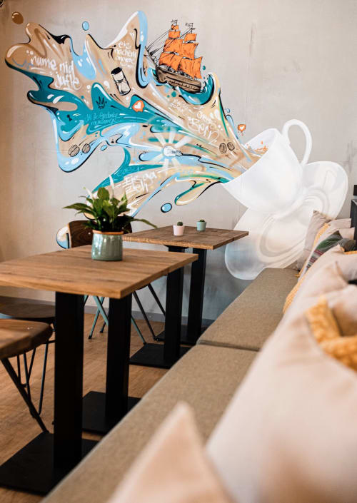 Murals by VIERWIND seen at Tchibo Kaffeehaus Max, Bern - The World Of Coffee