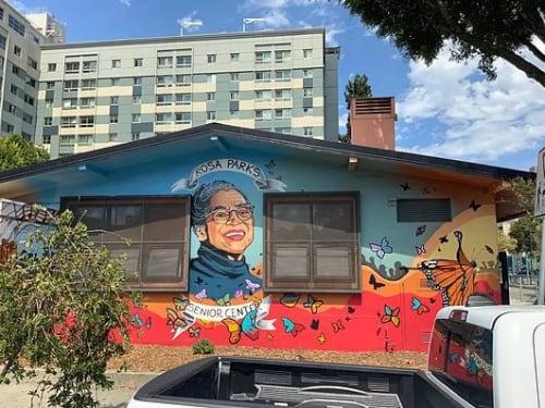 Street Murals by Bay Area Mural Program seen at Rosa Parks Senior Center, San Francisco - Spirit of the Fillmore