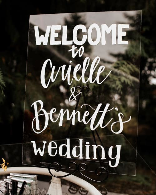 Signage by Adria Vey (Draft & Ink Calligraphy Co.) seen at Robinswood House - Seattle Bride, Bellevue - Custom Hand Lettering