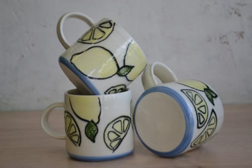 Cups by Natasha Swan Ceramics seen at Private Residence, Whitehead - Lovely LEMON
