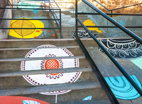 Murals by Yulia Avgustinovich seen at Oneida Street, Denver - Floral Staircase Artwork