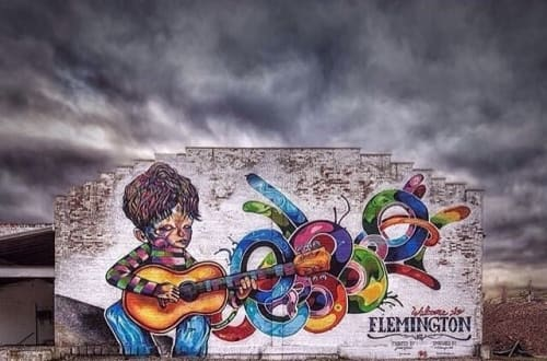 Murals by James Kelewae seen at Flemington, Flemington - Flemington's Guitar Boy
