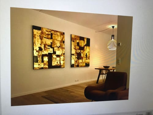 Paintings by Chelsea Davine Artist seen at Private Residence, Copenhagen - KINTSUGI (diptych)