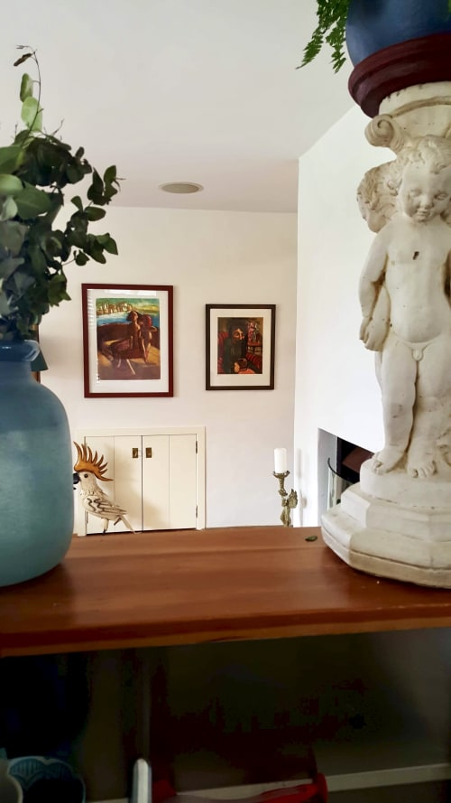 Paintings by Corinna Button seen at Private Residence, Sydney - 'Unspoken' and  'Departure'