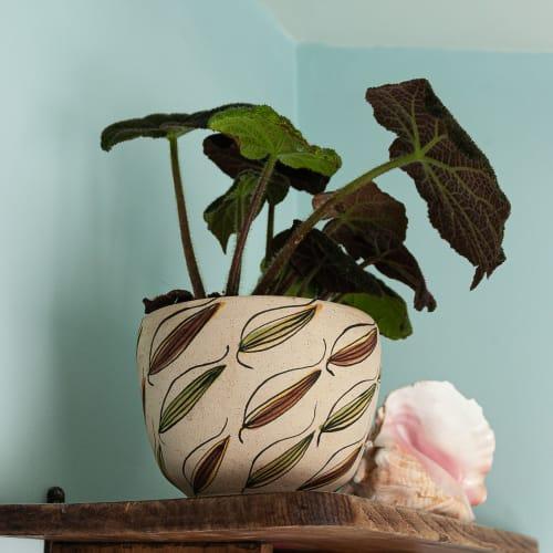 Large 'Bamboo' stoneware plant pot | Plants & Flowers by Kyra Mihailovic Ceramics