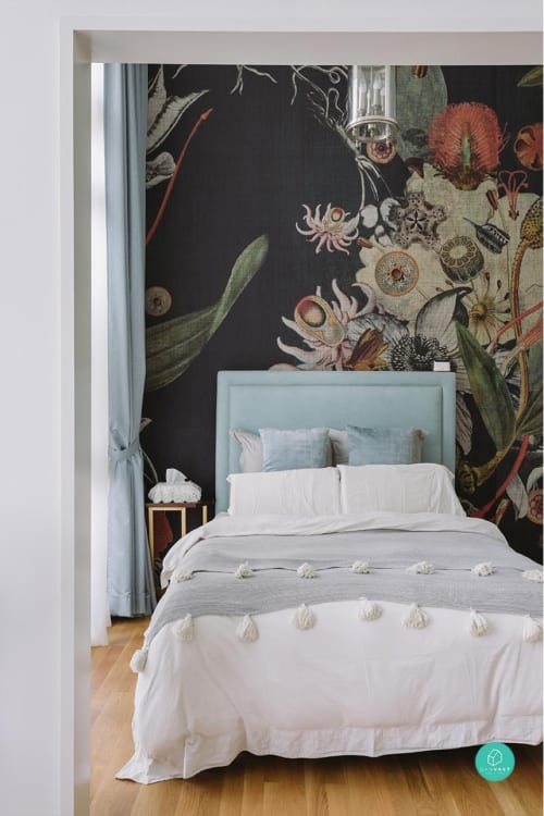 Wallpaper by LayerPlay seen at Private Residence, Singapore - Liang May's Botanical Dream Home