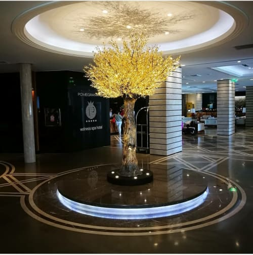 Sculptures by Valaes seen at Pomegranate Wellness Spa Hotel, Nea Moudania - Olive tree sculpture