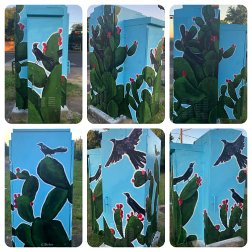 Murals by Christy Stallop seen at Private Residence, Austin - Cacti Mural