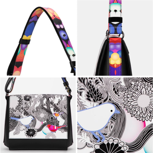 """Apparel & Accessories by Anca Stefanescu seen at Private Residence, London - Maisara """"Messangers of Joy"""" Art Handbag"""