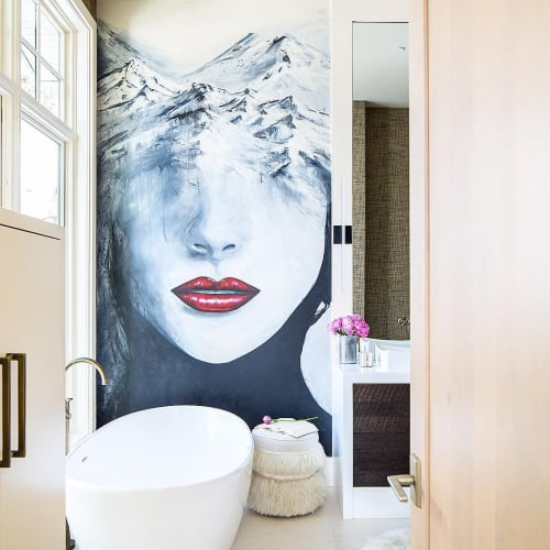 Murals by Kristin Llamas Fine Art seen at Private Residence, Park City, Park City - Deer Valley Bathroom Mural