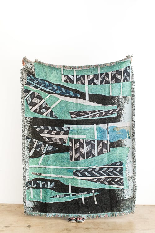 Teal patterned woven throw blanket