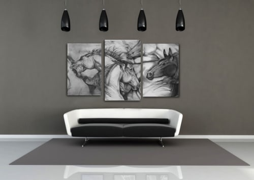 """Art & Wall Decor by Jen Smith Fine Art seen at Private Residence, Boise - """"Wild Bunch"""""""
