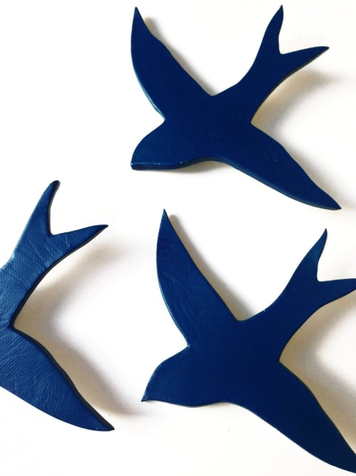 Art & Wall Decor by Elizabeth Prince Ceramics seen at Creator's Studio, Manchester - We Three Together - Set Of 3 Deep Navy Blue Swallow