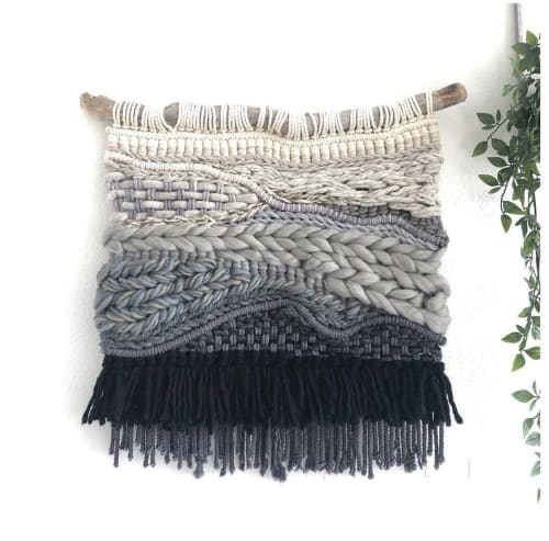 Macrame Wall Hanging by Oak & Vine seen at Private Residence, Chicago - Back to Black Macrame Weaved Wall Hanging