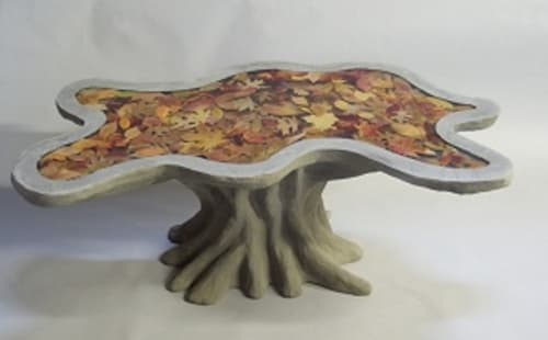 """Sculptures by J.A. Mayer """"Sculptor"""" seen at Private Residence, New Alexandria - Leaf Table"""