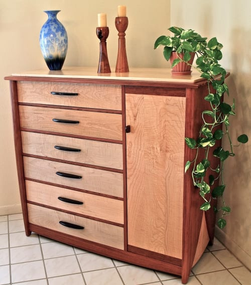 Furniture by Louis Fry Furniture Maker seen at Private Residence, Boston - 12 Drawer Dresser In Bubinga And Curly Maple