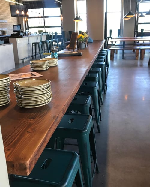 Tables by Wisconsin Farmhouse seen at Longtable Beer Cafe, Middleton - Tables and Benches