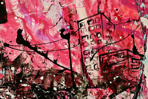 Paintings by Zero Gradient seen at Middlesbrough, Middlesbrough - SOLD - Chaos on the streets