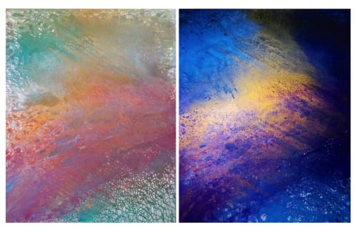 Paintings by Paul Seftel seen at San Francisco, San Francisco - 'Crossing the great divide' luminescent oil painting with stone and metal minerals on canvas
