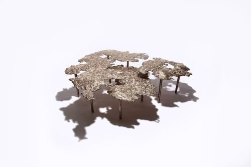 Tables by Steven Haulenbeek Studio seen at Private Residence, Chicago - Ice-Cast Bronze Cocktail Table #1
