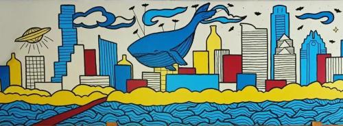 Murals by Avery Orendorf seen at Far West Liquor and Fine Wines, Austin - Keep Austin Weird