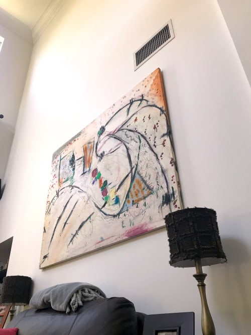"Paintings by Michael Patterson ""push paint studios"" Charlotte NC USA seen at Private Residence, New Orleans - Box Dog 48"" x 60""     modern abstract large canvas."